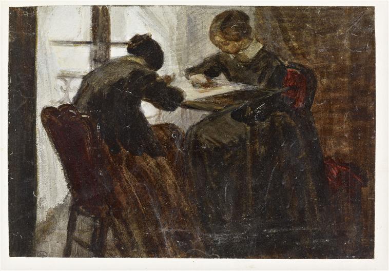 Deux femmes assises de chaque côté d'un métier à broder