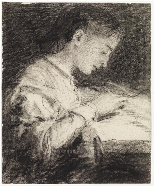 Femme, à mi-corps, assise, de profil à droite, brodant sur un métier