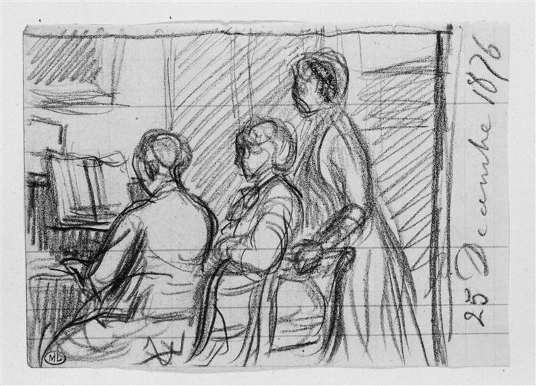 Deux figures près d'une femme jouant du piano