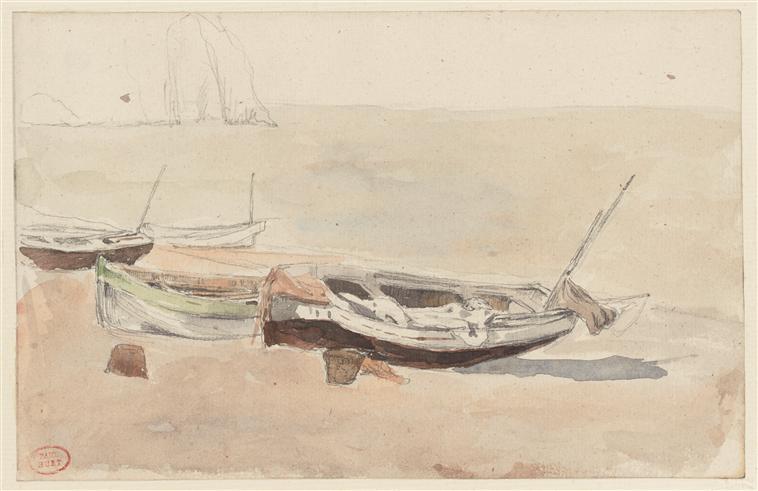 Barques à Etretat, échouées sur la grève