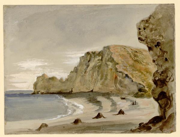 Vue de la plage et des falaises d'Etretat
