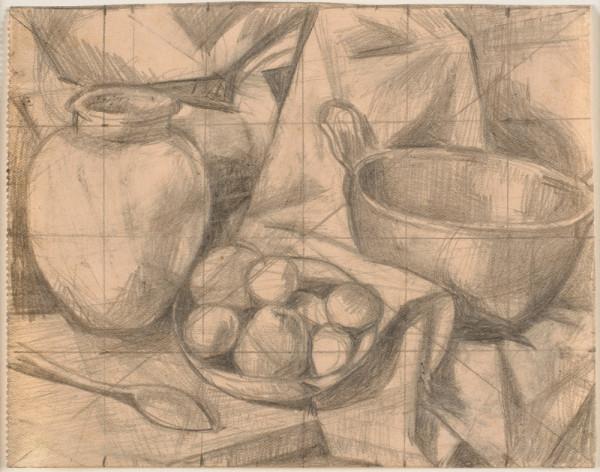 Opstilling. Fad med frugt, ske, krukke og skål, 1922