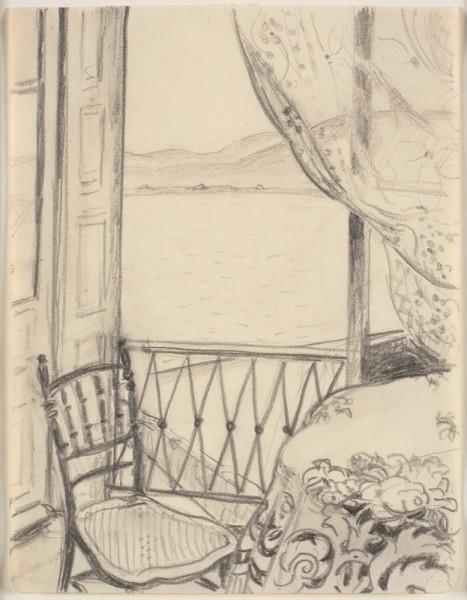 Udsigt over vandet fra værelset i Candia (Iraklion), Kreta, 1939