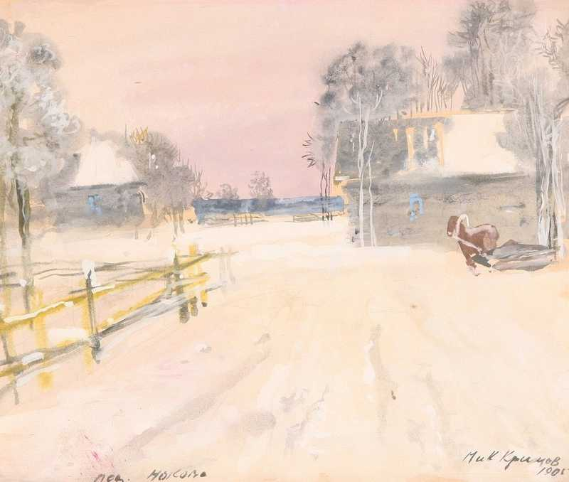 Winter in the village, 1905  gouache and watercolor on paper 25 x 30 cm