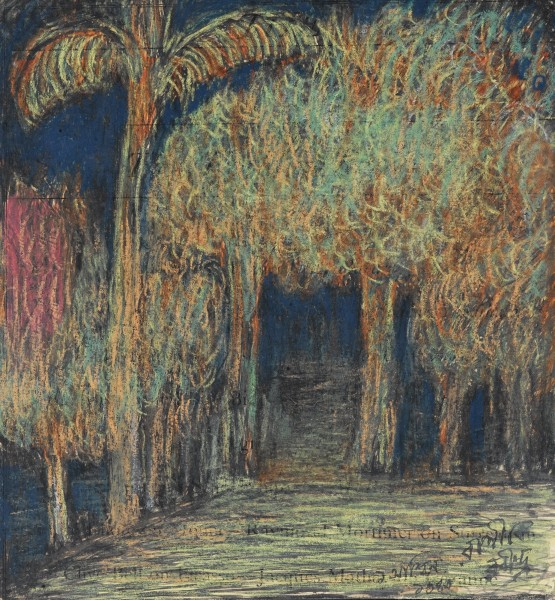 UNTITLED (TREESCAPE WITH PALM) Pastel on paper 20.3 by 17.8 cm