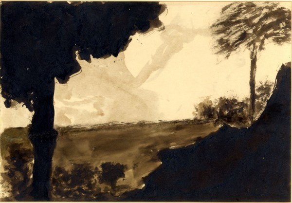 Landscape with tree. 1936 ink and wash 24.4x34.5 cm