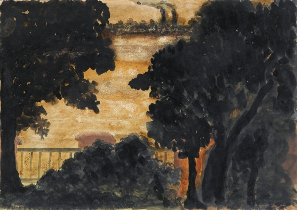 UNTITLED (LANDSCAPE) 1934 Coloured inks on paper 24.9 by 35 cm