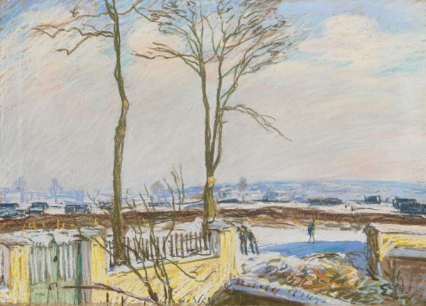 LA GARE DE MORET-SUR-LOING SOUS LA NEIGE Pastel on paper 38.4 by 54.2 cm Executed in 1888.