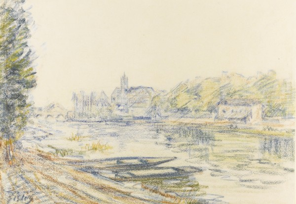 LES BORDS DU LOING signed Sisley (lower left) coloured crayon on paper 24.8 by 35cm
