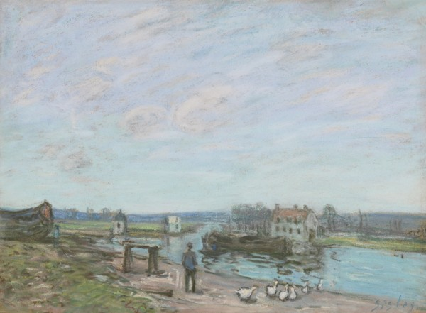 LES OIES À SAINT-MAMMÈS signed Sisley (lower right) pastel on paper 29 by 40cm