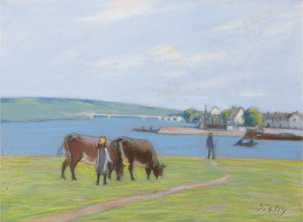 VACHES AU BORD DE LA SEINE À SAINT MAMMÈS pastel on paper 30 by 40.7cm Executed circa 1885.
