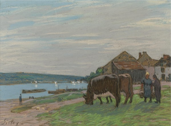 VACHES AU PÂTURAGE Pastel on brown paper mounted on canvas 29.8 by 40.7 cm Executed circa 1897.