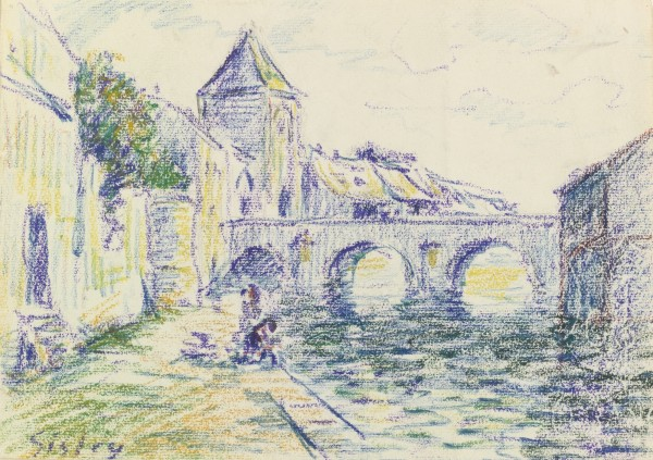 VUE DE MORET-SUR-LOING Crayon and pastel on paper 19.4 by 27.1 cm