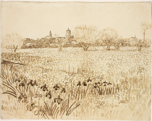 View of Arles  1888 Reed pen and ink, and wash over graphite on paper 43.2 x 54.6 cm Rode Island school museum