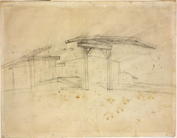View of Arles  1888 Reed pen and ink, and wash over graphite on paper 43.2 x 54.6 cm Rode Island school museum verso