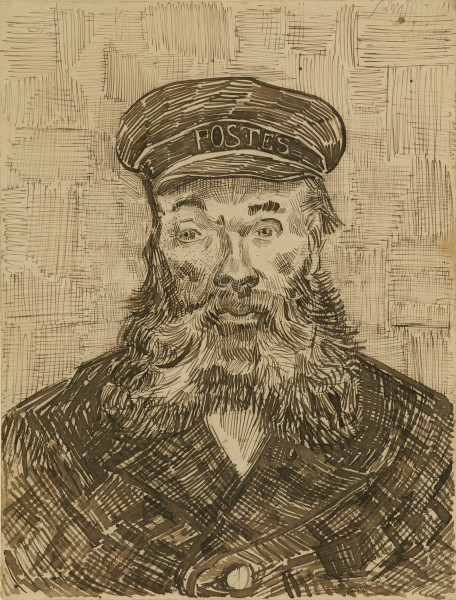 Portrait of Joseph Roulin 1888 Reed and quill pens and brown ink and black chalk   32.1 x 24.4 cm getty 2