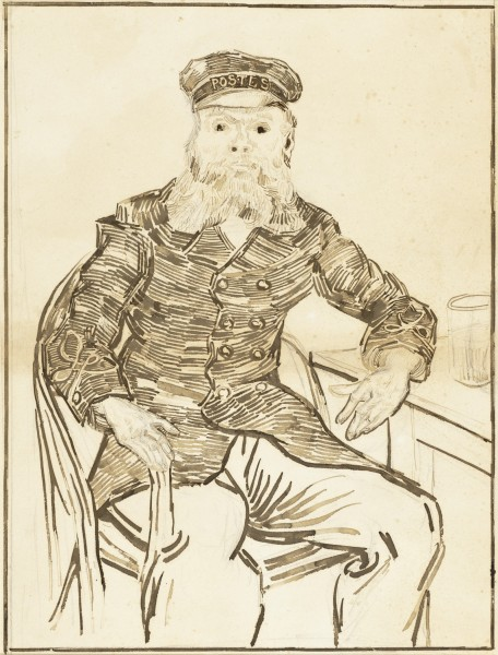 The Postman Joseph Roulin France, Arles, 1888 Brown ink over graphite on paper 51.44 x 42.23 cm los angeles