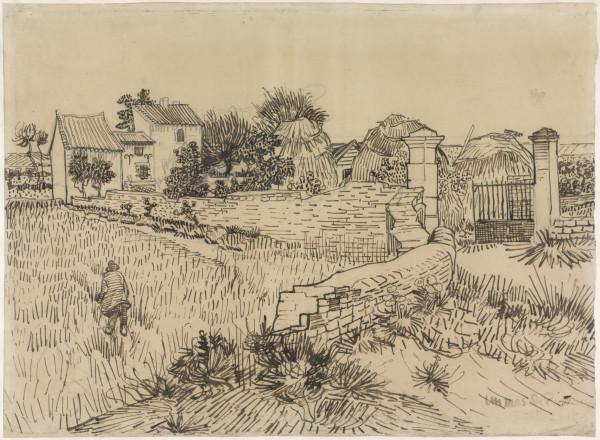 Farm in Provence, Vincent van Gogh, c. 1888  pen, h 391mm × w 533mm rijksmus