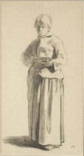 Рисунок стоящей женщины