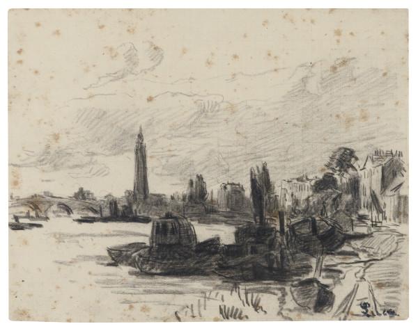 BORD DE RIVIÈRE Signé Luce en bas à droite Crayon noir sur papier 16.5 x 21 cm.jpg