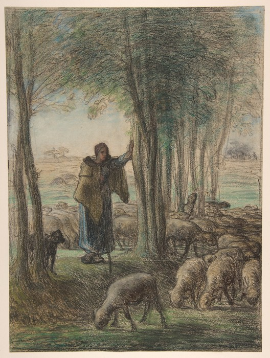 A Shepherdess and Her Flock in the Shade of Trees1