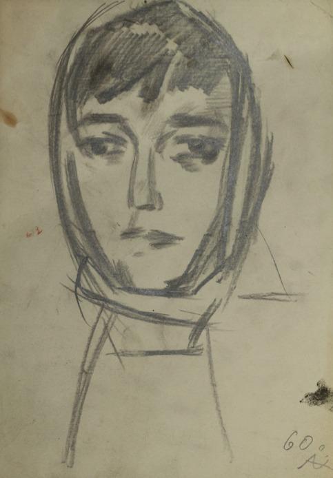 «Эскиз к картине «Плотогоны». Женская голова», 1960 бумага, карандаш 26×18 см..jpg