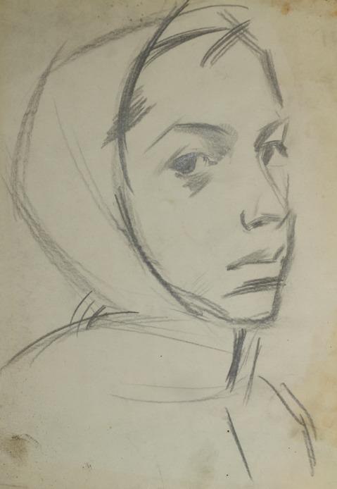 «Эскиз к картине «Плотогоны». Наташа», 1961 бумага, карандаш 26×18 см.jpg