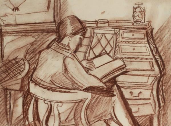 «За книгой», 1970 бумага, пастель 28×30 см..jpg