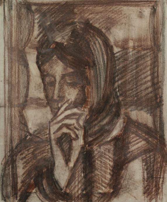 «За чтением», 1975 бумага, уголь, сангина 45×37 см..jpg