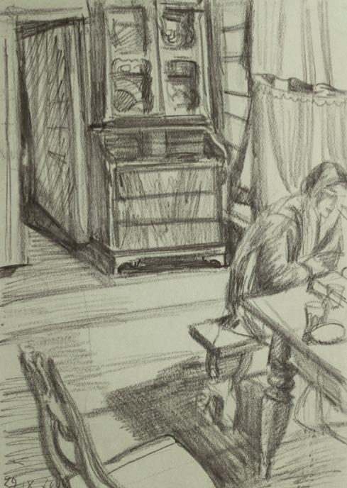 «Интерьер в Ускове», 1978 бумага, карандаш, уголь 50×35 см..jpg
