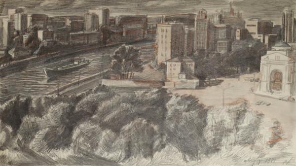 «Москва-река. Август», 1981 бумага, карандаш 33×54 см..jpg