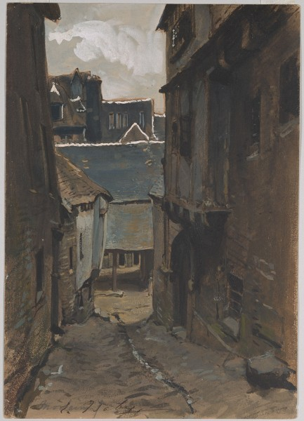 A Street in Morlaix Brush and brown wash, and gouache, on paper 255 x 179 mm The Morgan Library & Museum.jpg