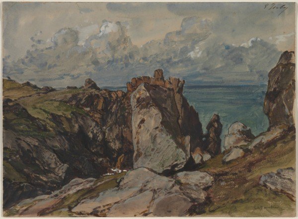 Cliffs by the Sea at Cézembre, Brittany, c. 1830 watercolor and gouache with black chalk 25.8x35 cm Cleveland Museum of Art.jpg