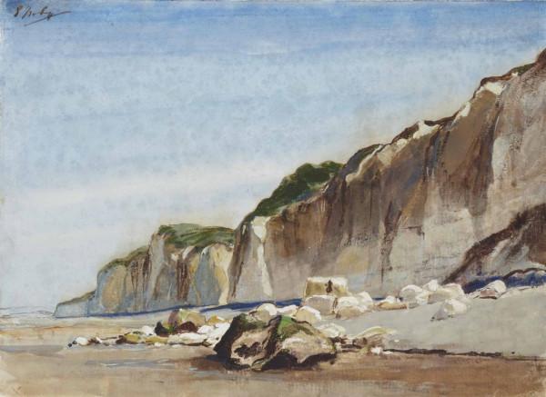 La plage à marée basse, des falaises à l'arrière-plan  aquarelle et gouache sur papier 263 x 367 mm pc.jpg