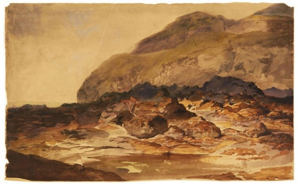 Les rochers Aquarelle sur trait de crayon noir 31,5x50 cm pc.JPG