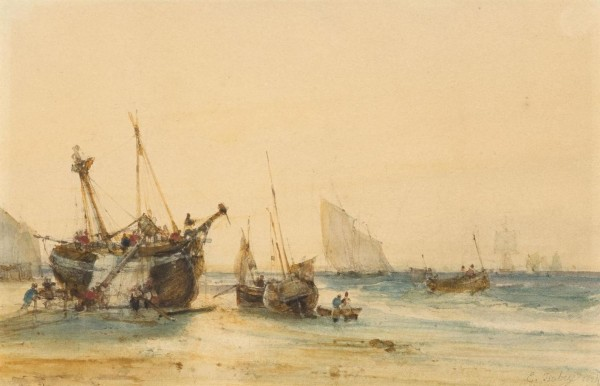Ships on a beach and out at sea. Brown pen, black chalk and watercolour 13.5 x 20 cm pc.JPG