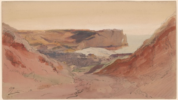 View of Etretat Black chalk, brush, and watercolors, on paper 190 x 336 mm  The Morgan Library & Museum.jpg
