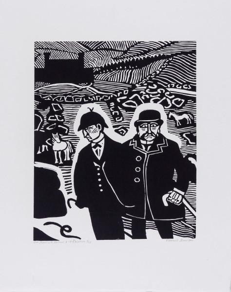 Mr. Sherlock Holmes & Dr. Watson linocut, 1987 455 x 320 mm.jpg