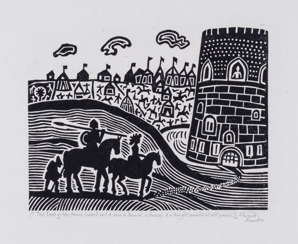 The Lord of the Tower Looked Out & Saw a Damsel, a Dwarf & a Knight Armed at all Points linocut, 1982 204 x 265 mm.jpg