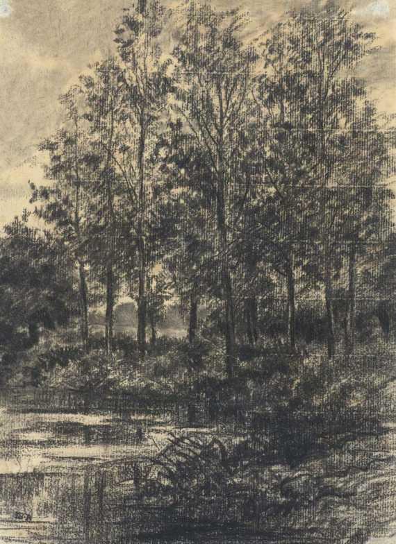Pont sur une Riviere, circa 1865. Black chalk 27.6 x 20.2 cm pc.jpg
