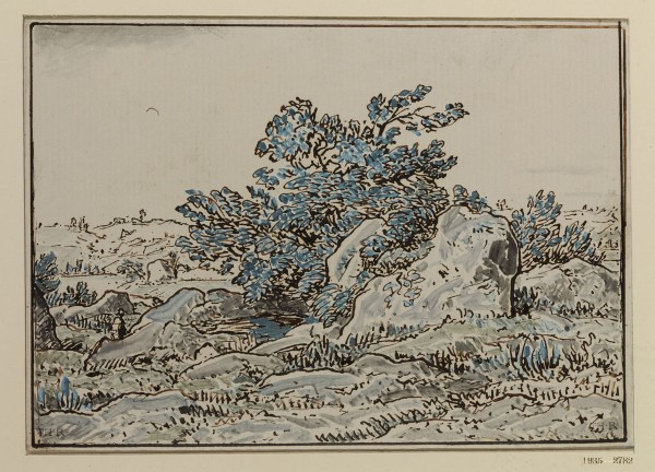 Rocky Landscape with a Bush 1860s pen, brown ink, gouache on paper 133 × 182 mm budapesht.jpg