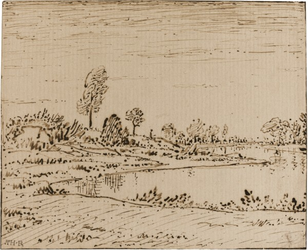 A RIVERSIDE LANDSCAPE Pen and brown ink 116 by 145 mm.jpg