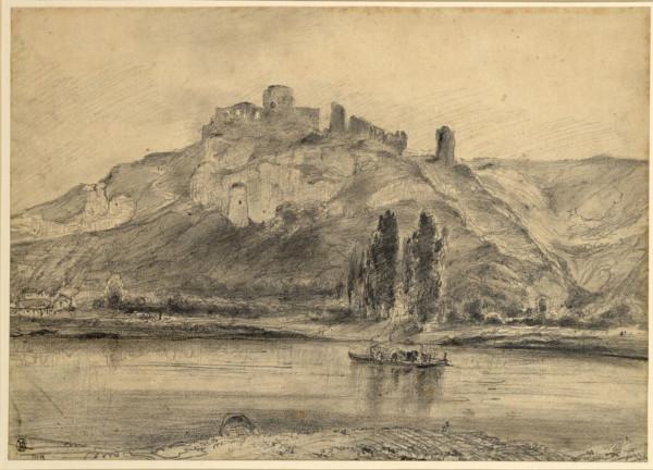 Die Schlossruine Gaillard bei Les Andelys (Eure) an der Seine mit einem Boot im Vordergrund Bleistift auf leicht vergilbtem Papier 27,9 x 39,3 cm Alb…