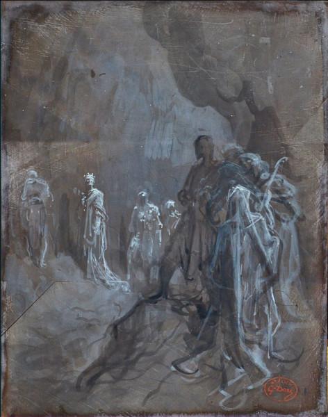 Macbeth apercevant le spectre des rois Dessin au lavis sur bois de bout, non gravé et abandonné..jpg