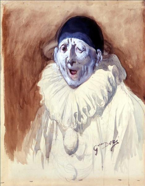 Pierrot grimaçant Aquarelle et rehauts de gouache blanche sur traits de crayon, 64,2 x 50,5 cm Strasbourg, Musée d'Art moderne et contemporain.jpg