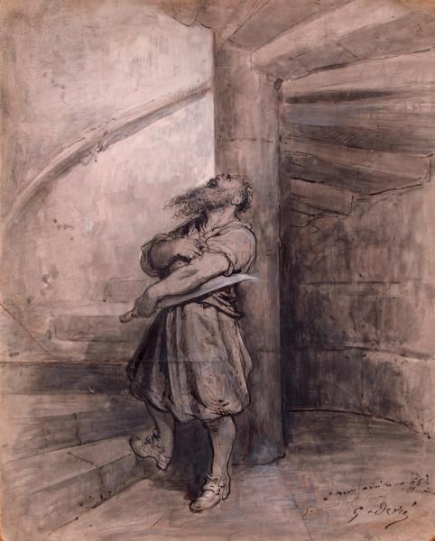 Иллюстрация к сказке Шарля Перро 'Синяя борода'  До 1862 г. карандаш, перо тушью, кисть серым тоном и белилами на грунтованной доске пальмового дерев…