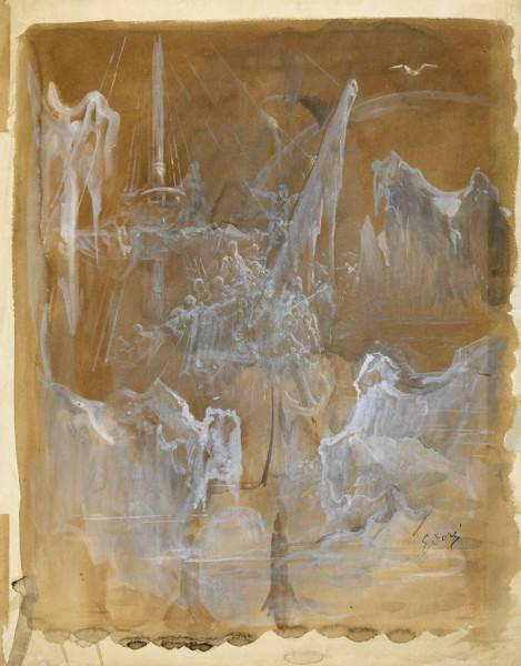 Alors arrivèrent ensemble brouillard et neige Lavis brun et gouache blanche sur traits de crayon, 51,9 × 39,9 cm Strasbourg, Musée d'Art moderne et c…