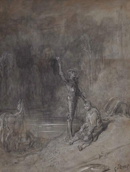 Don Quichotte et Sancho Pancha mine de plomb, plume et encre brune, lavis brun rehaussé de blanc, sur bois 24,3 x 19,5 cm pc.jpg