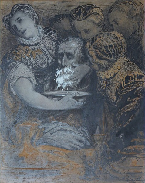 Et l'on acheva de bien laver Don Quichotte. Dessin au crayon et lavis sur bois de bout BnF, département des Estampes et de la Photographie.jpg