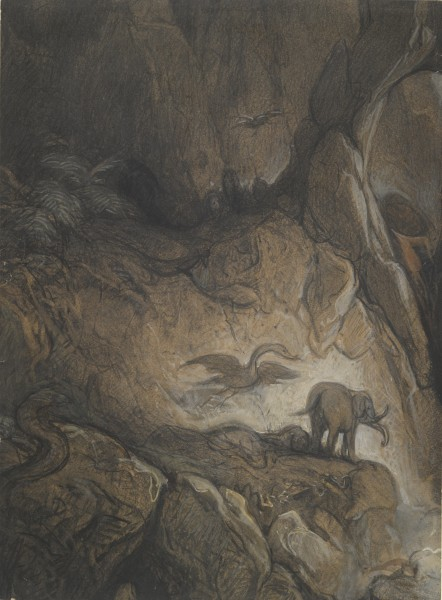 Fantastic gorge with Animals and Figures Black chalk with watercolor and body color on light brown paper 43.1 x 31.2 cm yale.jpg